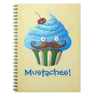 Sweet Mustached Cupcake Notebook