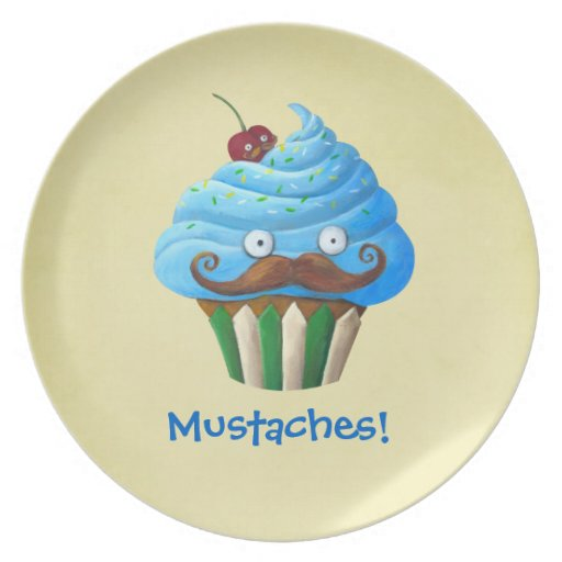 Sweet Mustached Cupcake Party Plates