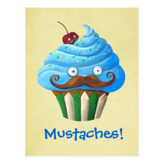 Sweet Mustached Cupcake Postcard