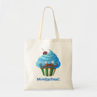 Sweet Mustached Cupcake Tote Bag