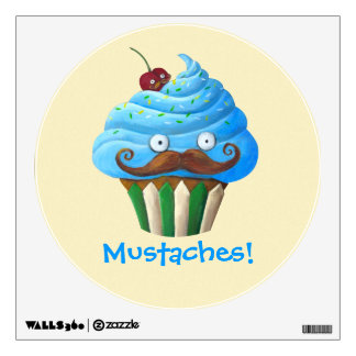 Sweet Mustached Cupcake Room Sticker