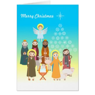 Sweet Nativity Scene for Kids Card