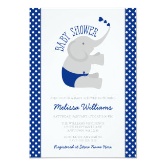 Sweet Navy Blue Gray Elephant Baby Shower Card