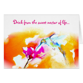 """Sweet Nectar"" Hummingbird Birthday Card"
