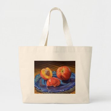 Beach Themed Sweet Nectarines Large Tote Bag