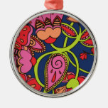 Sweet Neon Floral Round Metal Christmas Ornament