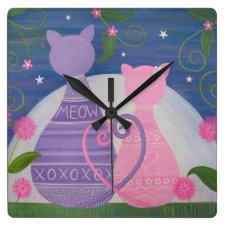 Sweet November - Kitty Cat Love Kids Wall Clock