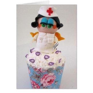 Sweet Nurse Angel Cupcake Greeting Card