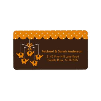 Sweet Orange Elephant Mobile Address Label