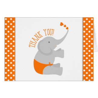 Sweet Orange Gray Elephant Baby Shower Thank You Card