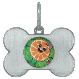 Sweet Orange Lady Pet Name Tag
