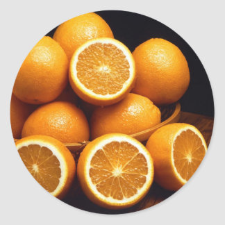 Sweet Oranges Whole and Halved Classic Round Sticker
