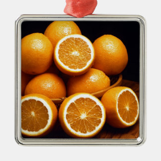 Sweet Oranges Whole and Halved Metal Ornament