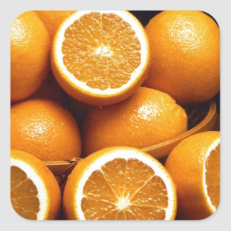 Sweet Oranges Whole and Halved Square Sticker