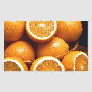 Sweet Oranges Whole and Halved Rectangular Sticker