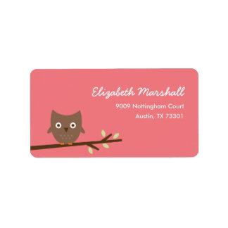 Sweet Owl Address Label (Pink) Labels
