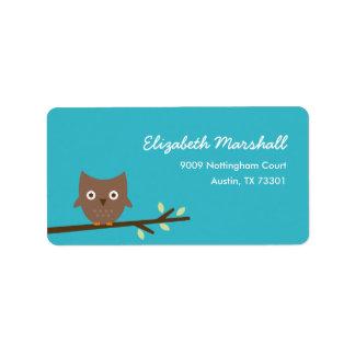 Sweet Owl Address Label (Turquoise) Custom Address Label