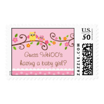 Sweet Owl Baby Girl Baby Shower Postage Stamps