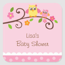 Sweet Owl Baby Girl Envelope Seals Favor Stickers