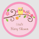 Sweet Owl Baby Girl Envelope Seals Stickers