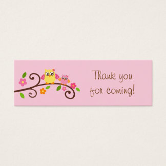 Sweet Owl Baby Girl Party Favor Gift Tags