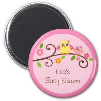 Sweet Owl Baby Girl Party Favor Magnets