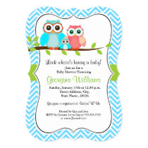 Sweet Owl Baby Shower Invitation / Blue Green