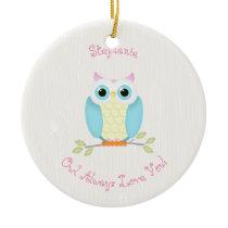 Sweet Owl Birthday Ceramic Ornament