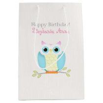 Sweet Owl Birthday Medium Gift Bag