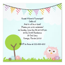 Sweet Owl Birthday Party Invitation
