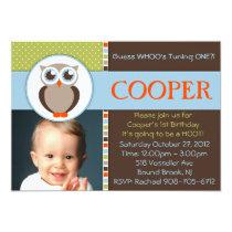 Sweet Owl Birthday Party Invitation  - BOY -