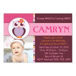 Sweet Owl Birthday Party Invitation  - GIRL -