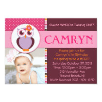 Sweet Owl Birthday Party Invitation  - GIRL -