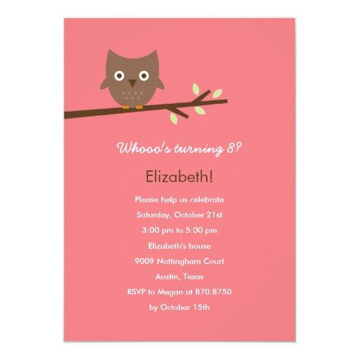 Sweet Owl Birthday Party Invitation (Pink)
