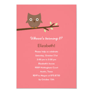 Sweet Owl Birthday Party Invitation (Pink) Cards