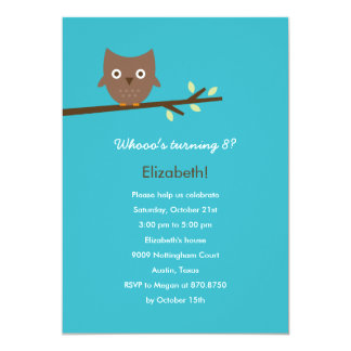 Sweet Owl Birthday Party Invitation (Turquoise)
