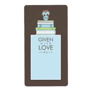 Sweet Owl Bookplate Gift Label Blue   Brown