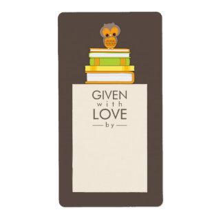 Sweet Owl Bookplate Name Label Orange   Brown