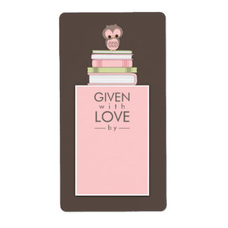 Sweet Owl Bookplate Name Label Pink | Brown Shipping Label