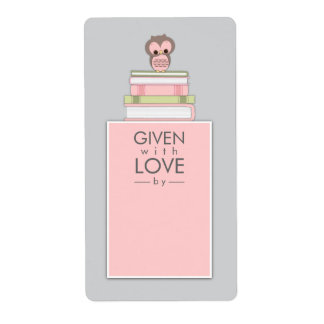 Sweet Owl Bookplate Name Label Pink | Gray