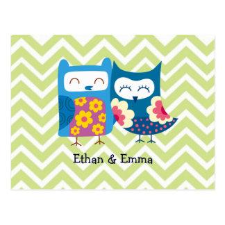 Sweet Owl Lovers Pair on Chevron Background Postcard