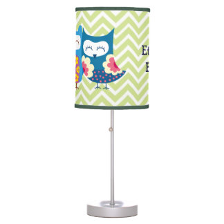 Sweet Owl Lovers Pair on Chevron Background Table Lamp