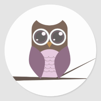 Sweet Owl on Branch Classic Round Sticker