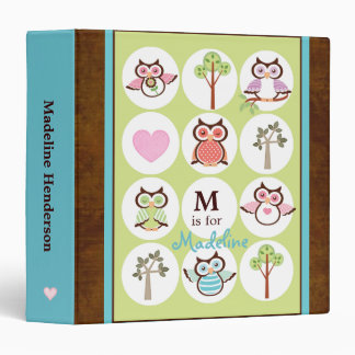 Sweet Owl Sampler Personalized School Binder