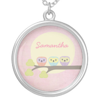 Sweet Owl Trio Girls Name Necklace