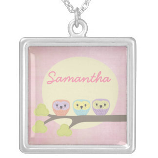 Sweet Owl Trio Girls Name Necklace