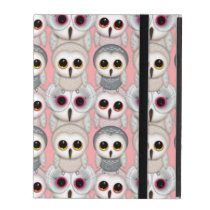 Sweet Owlets Baby Owls on Pale Pink Pattern iPad Cases