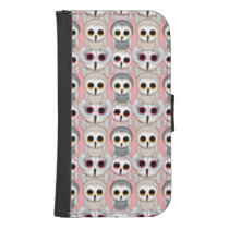 Sweet Owlets Baby Owls on Pale Pink Pattern Samsung S4 Wallet Case