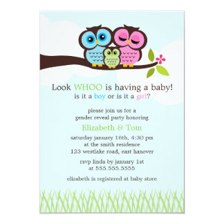 Sweet Owls Gender Reveal Party 5x7 Paper Invitation Card