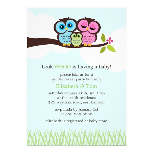 Sweet Owls Gender Reveal Party Invitations